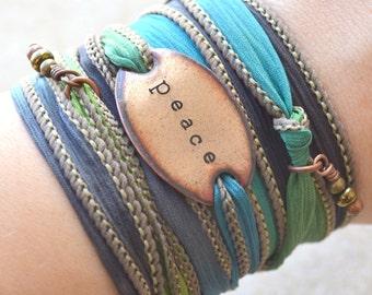 Silk Wrap Bracelet- PEACE wrap bracelet, yoga bracelet- wrap bracelet- boho jewelry, boho bracelet, peace, hippie jewelry