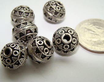 Destashing 6 Bali Sterling Silver Beads 17.3 Grams Highly Textured