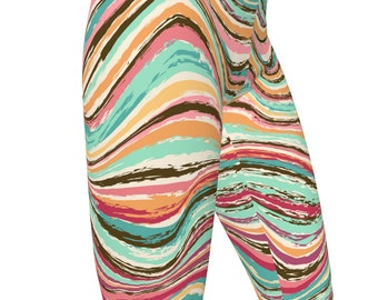 Rainbow Marble Tribal Print, High Waist Women's Stretch Yoga Leggings