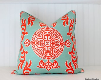 One or Both Sides - ONE High End Thibaut Halie Print Aqua and Coral Pillow Cover with Self Cording