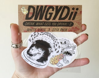 DWGYDII: White Vinyl Sticker Pack