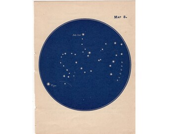 1903 POLE STAR - big dipper & pole star CONSTELLATION map antique original lithograph - miniature star chart
