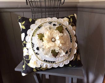 Victorian Pillow - Decorative Pillow - Floral Pillow - Black Floral Pillow - Flower Pillow