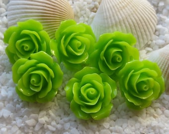 Resin Flower Cabochon - 18mm - 12pcs - Lime Green