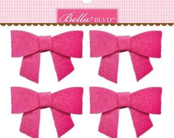 Bella Blvd Color Chaos Bella Bows, Pack of 4 Self-Adhesive Felt Bows - Punch