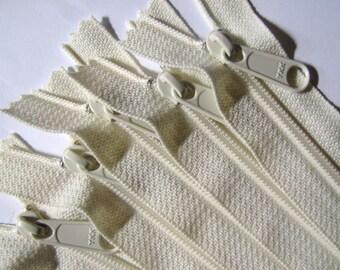 SALE - Ten vanilla 12 inch YKK Hand bag zippers with extra long pull - YKK vanilla color 121