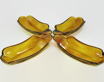 4 Amber Gold Glass Banana Split Dishes, Dessert Bowls with Handle Indiana Glass, Butter Dish, Hot Dog Server, Corn on the Cob