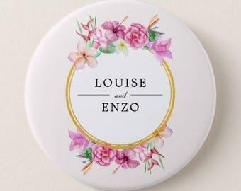 Badge pin 56mm custom wedding names of groom, flower Crown