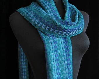Handwoven Scarf Soft Tencel Scarf Handmade Shawl Wrap Gift For Her Green Blue Purple Scarf Soft Shiny One of a Kind - Emerald City