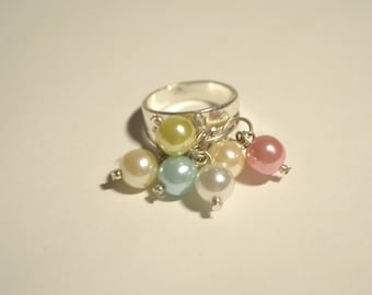 Vintage Pink Blue Faux Pearl Cluster Silver Plate Ring Size 7.75
