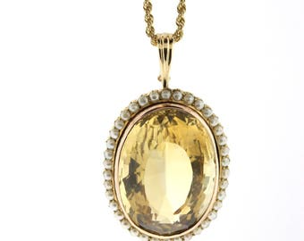 Aria antique gold citrine necklace citrine necklace vintage citrine pendant rose gold citrine pearl pendant 80ct oval large citrine necklace aloadofball Choice Image