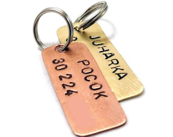 Brass / Copper rectangle dog ID tag - Personalized, handstamped