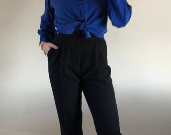 black wool pants / pleated trousers / baggy pants / high waisted pants | 28W