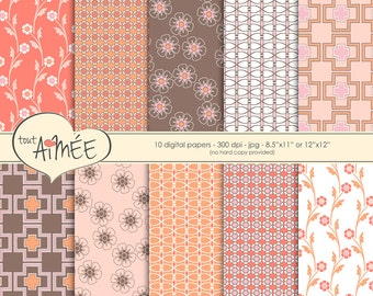"""Retro Digital Scrapbook Paper, 10 Printable Patterns in Soft Pinks, Corals, Peach and Brown, 8.5""""x11' or 12""""x12"""" - Group 88"""