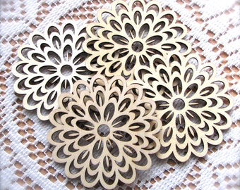 Laser-Cut Flower Wood Shapes   Crafting Supplies   Set of 4   Shipping Included