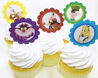 "Alice in Wonderland Tea party | CupCake Toppers, cupcake picks, food picks, 4"" Lollipop Stick Set of 12"