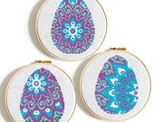Easter Eggs cross stitch pattern Happy easter Mandala cross stitch PDF Holidays counted cross stitch Easy modern cross stitch Easter Bunny