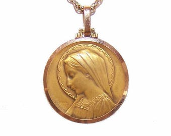 Antique Edwardian, Art Deco, French, Religious, 18K Gold, Yellow Gold, Rose Gold, Medal, Pendant, Emile Dropsy, Virgin Mary, First Communion