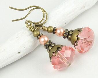 Beaded Earrings Pink Earrings Swarovski Jewelry Antique Brass Earrings Vintage Style Rose Peach Pink Shabby Cottage Chic Jewelry