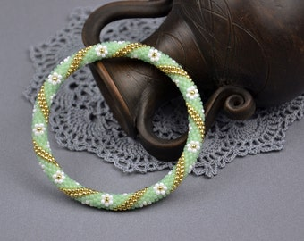 Holiday Boho Bracelet best friend gift birthday gift For her Green White friendship bracelet Fashionable jewelry Valentine gift for sister