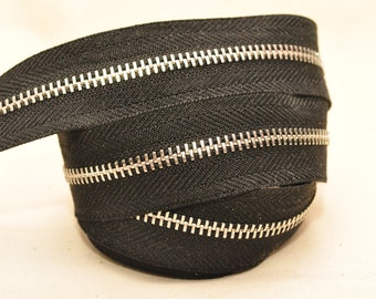 Zipper chain - 5 metres or 5,4 yards, Zipper by the yard, Long metal zipper tape, Continuous silver zipper chain, DIY, Zipper supplies