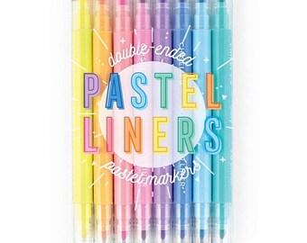 Kawaii Stationery PASTEL DUAL tip HIGHLIGHTERS Stabilo Boss Zebra Mild Liner like pastel school, bullet planner journal supplies by ooly