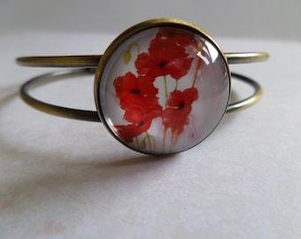 Glass cabochon bracelet * pretty poppies * 20 mm