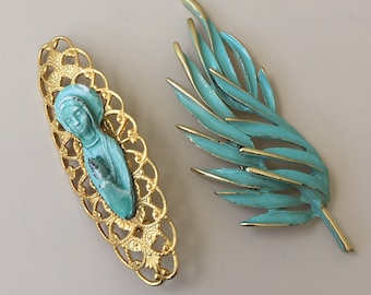 Vintage  two pc Virgin Mary  & Leaf brooches