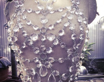 Sacred Geometry Chandelier Crystal Harness Top by Louise Black
