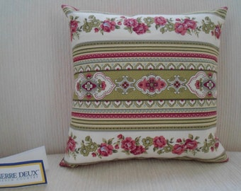 PIERRE DEUX Country French Floral Stripe Pillow in moss green,rose pink, and white