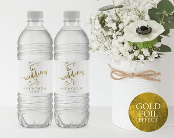 Wedding Water Bottle Label, Printable Water Bottle Label, Water Bottle Label Template, Wedding Label, PDF Instant Download, MM04-1