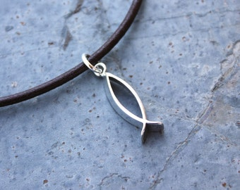 Christian Fish Anklet or Bracelet - brown leather & sterling silver - Mens or Womens sizes - free US shipping