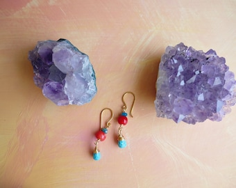 Tesuque turquoise, apatite and red coral wire wrapped drop earrings