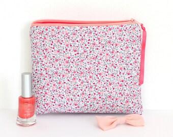 Trousse à maquillage en coton, coloris gris clair, rose, fuchsia, à motifs fleurs