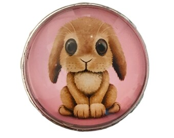 Bunny Rabbit Glass Knob for Dresser Drawers, Cabinet Drawers, Kitchen Cabinets - W31