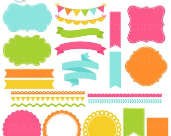 Borders, Banners & Frames Clipart Set - frames, tags, borders, bunting clip art set - personal use, small commercial use, instant download