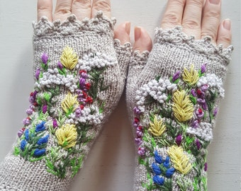 Hand Knitted Fingerless Gloves Embroidered Gloves and Mittens Women's Accessories Gift for Her Art Clothing Spring Flowers Boho Eco Friendly