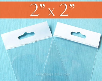 """200,  2x2 Inch HANG TOP Clear Self Adhesive Cello Bags  for Jewelry Display or Beads (2"""" x 2"""")"""