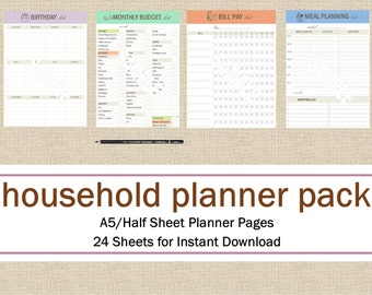 Household Planner Half Size 8.5 x 5.5 Planner Pages, Meal Planning Printable Planner Pack: Day Planner, Food Planner, Instant Download