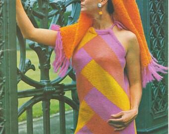 Halter Neck Dress PDF Pattern Knit Scarf Pattern and Dress Pattern Knitted Dress Pattern Knit Shawl Wool