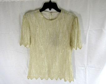 Vintage Beaded White Petal Shirt