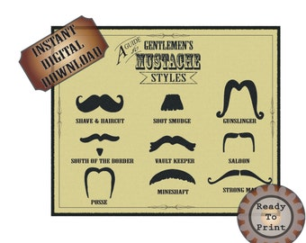 Mustache Styles Printable Old West Barber Shop Steampunk Victorian Sign - Funny Mustache Names - Gunslinger - Strong Man - Vault Keeper