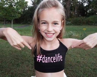 girls dance bra,sports bra,girls sports bra,custom sports bra,girls tank,hashtag shirt,dancewear,dance shirt,seamless bra,free shipping