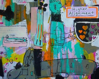 Mixed Media, Collage, Abstract, Painting, Buddha, Pig, Dog Children's Decor, Outsider