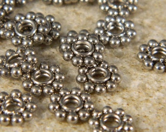 6 Stainless Steel Flower Spacer Beads