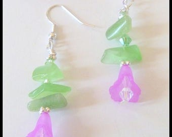 Purple Acrylic and Crystal Beaded Flower Earrings
