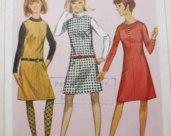 Vintage 60's Pattern, Simplicity 6645 Sewing Pattern, Dress Sewing Pattern, Size 15, Bust 35, Uncut
