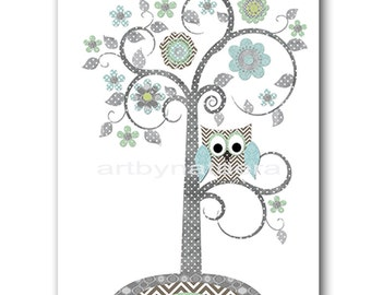 Baby Shower Gift Tree Owl Nursery Decor Baby Boy Nursery Art Decor Nursery Wall Art Baby Nursery Kids Room Decor Kids Art Blue Gray