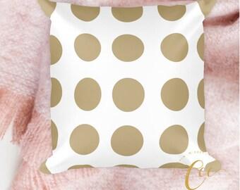 White Bronze Polka Dot Pattern Pillow, Modern Decorative Pillow Cushion.