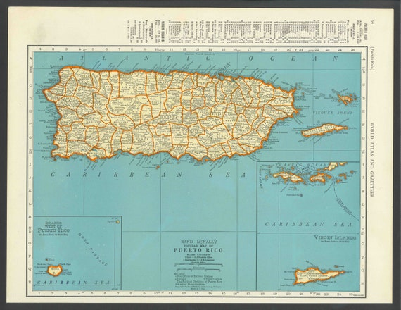Vintage map puerto rico from 1937 original gumiabroncs Images